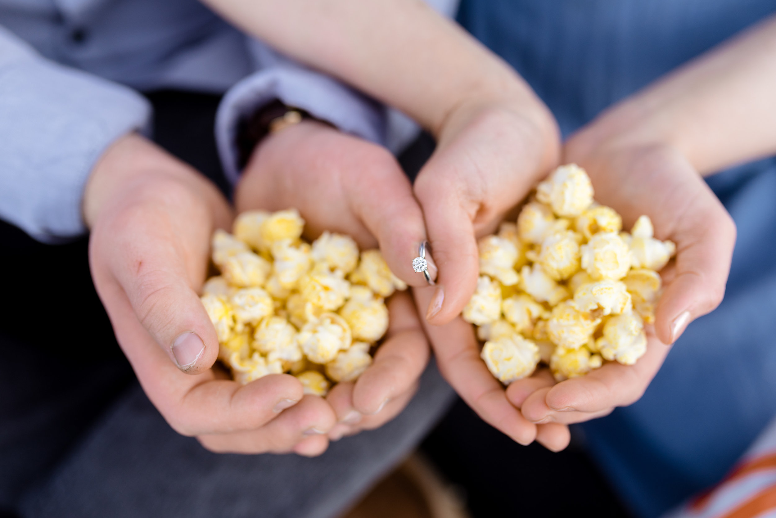 Popcorn engagement ring shot.