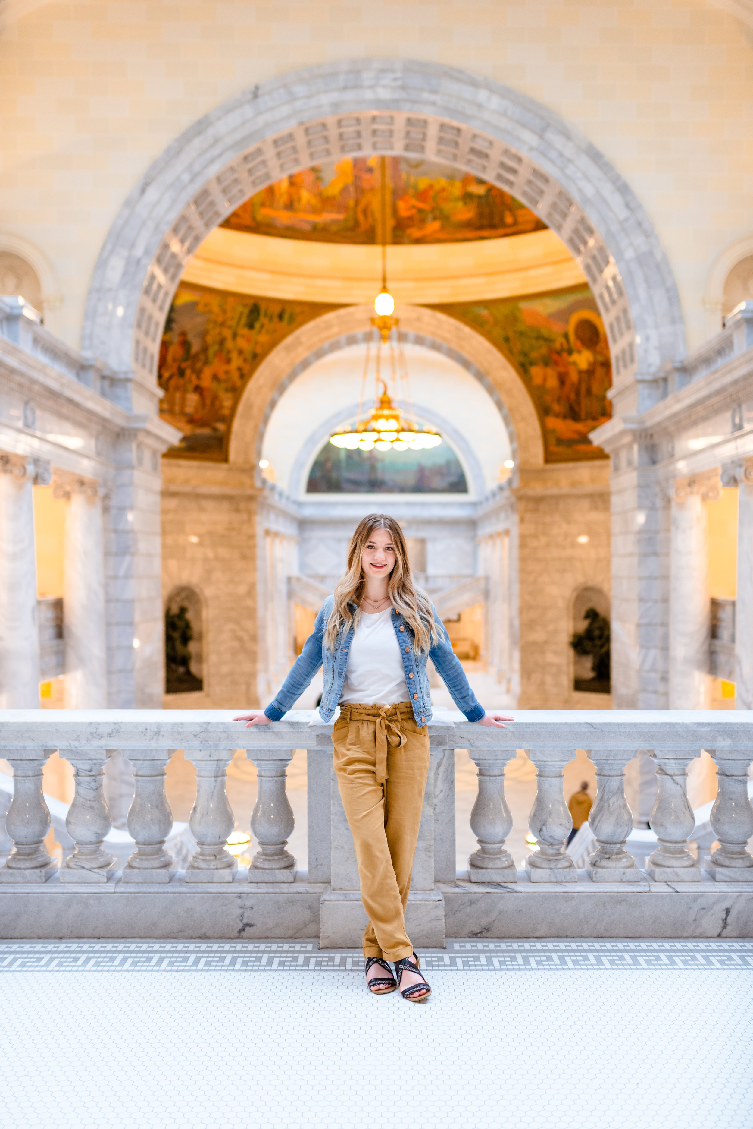 Rainy Day Senior portrait session done at Utah State Capitol Building in Salt Lake City, UT.