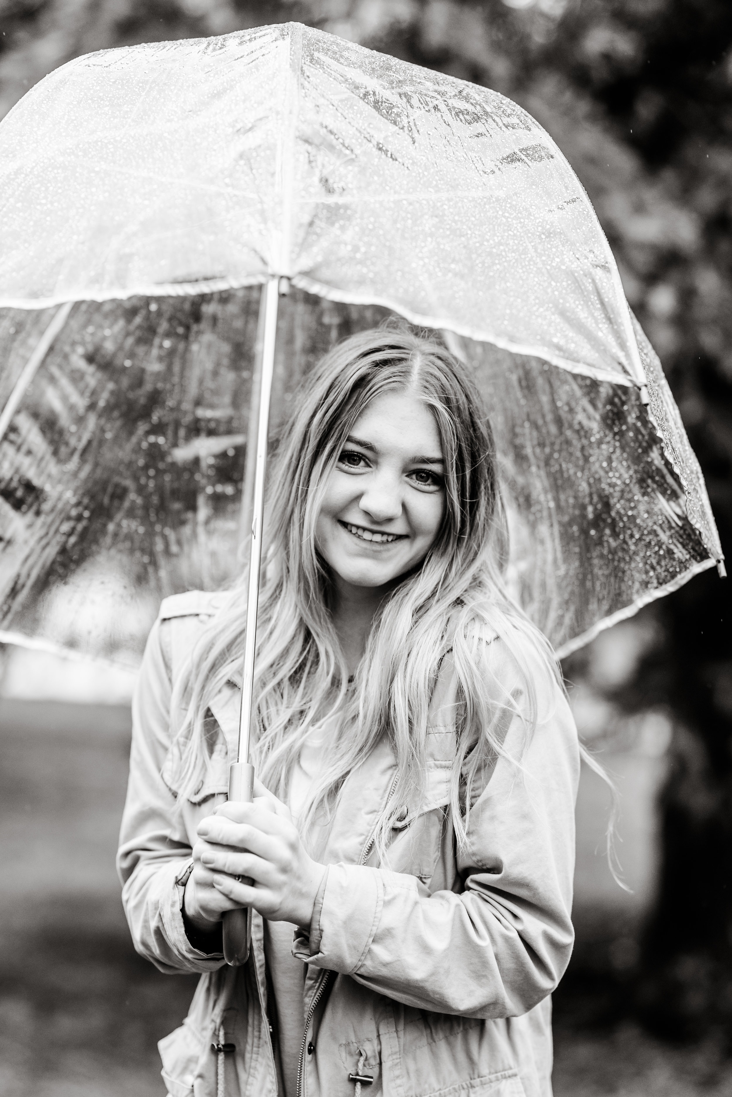 Black and white beauty. Senior girl pictures in the rain at Memory Grove Park in Downtown Salt Lake City.