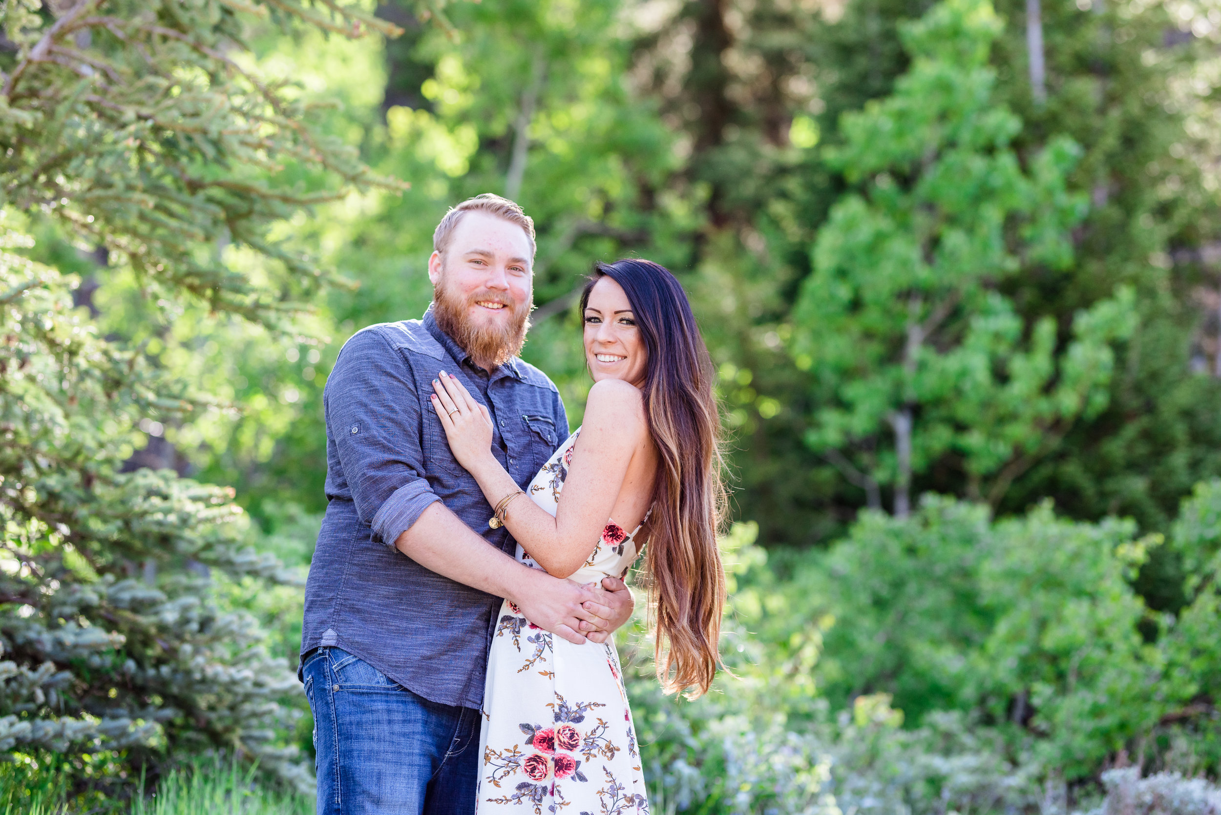 Morning engagement session in the Salt Lake mountains. Engagement session at Jordan Pines Campground in Big Cottonwood Canyon.