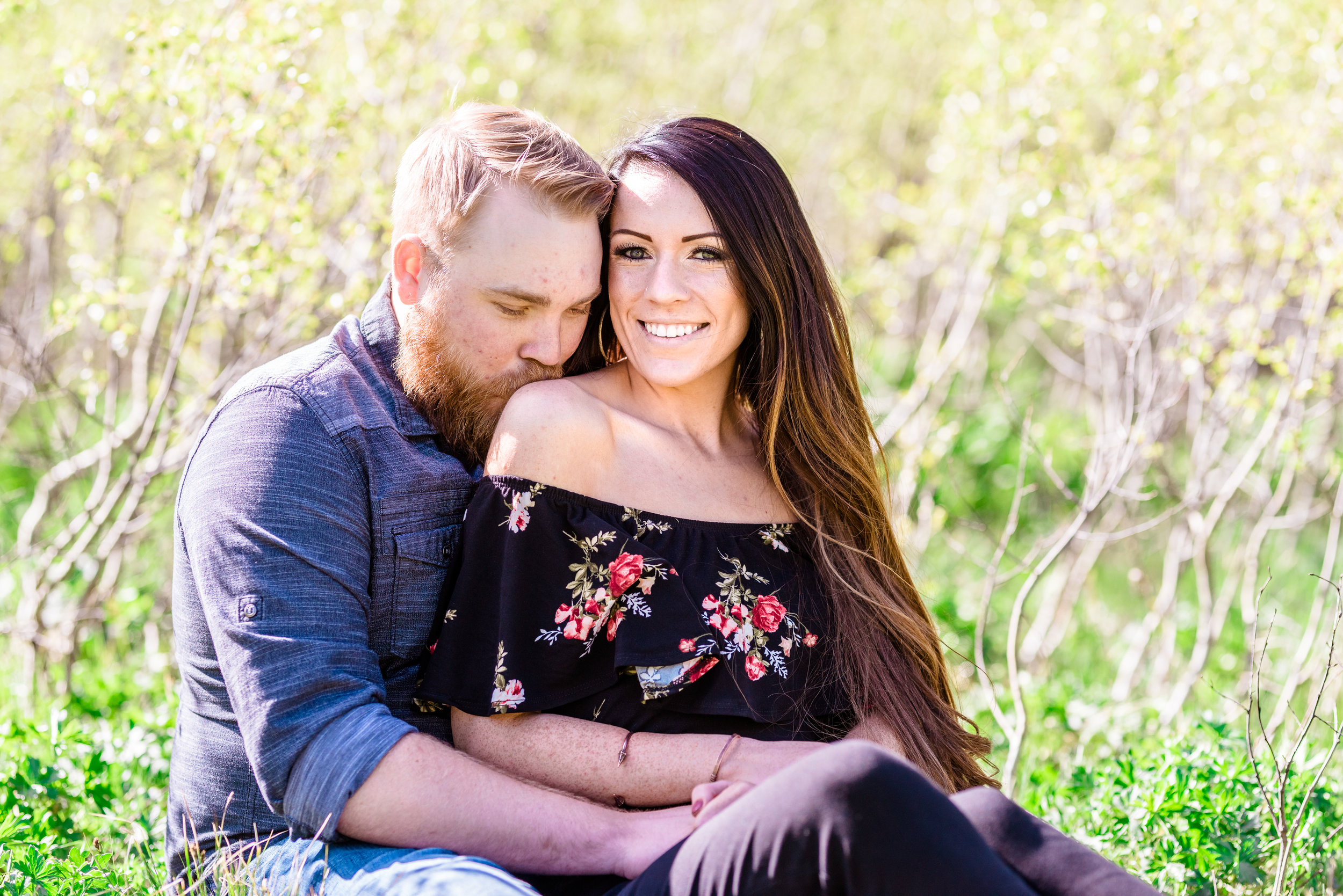 Shoulder kisses are what dreams are made of. Morning engagement session in the Salt Lake mountains. Engagement session at Jordan Pines Campground in Big Cottonwood Canyon.