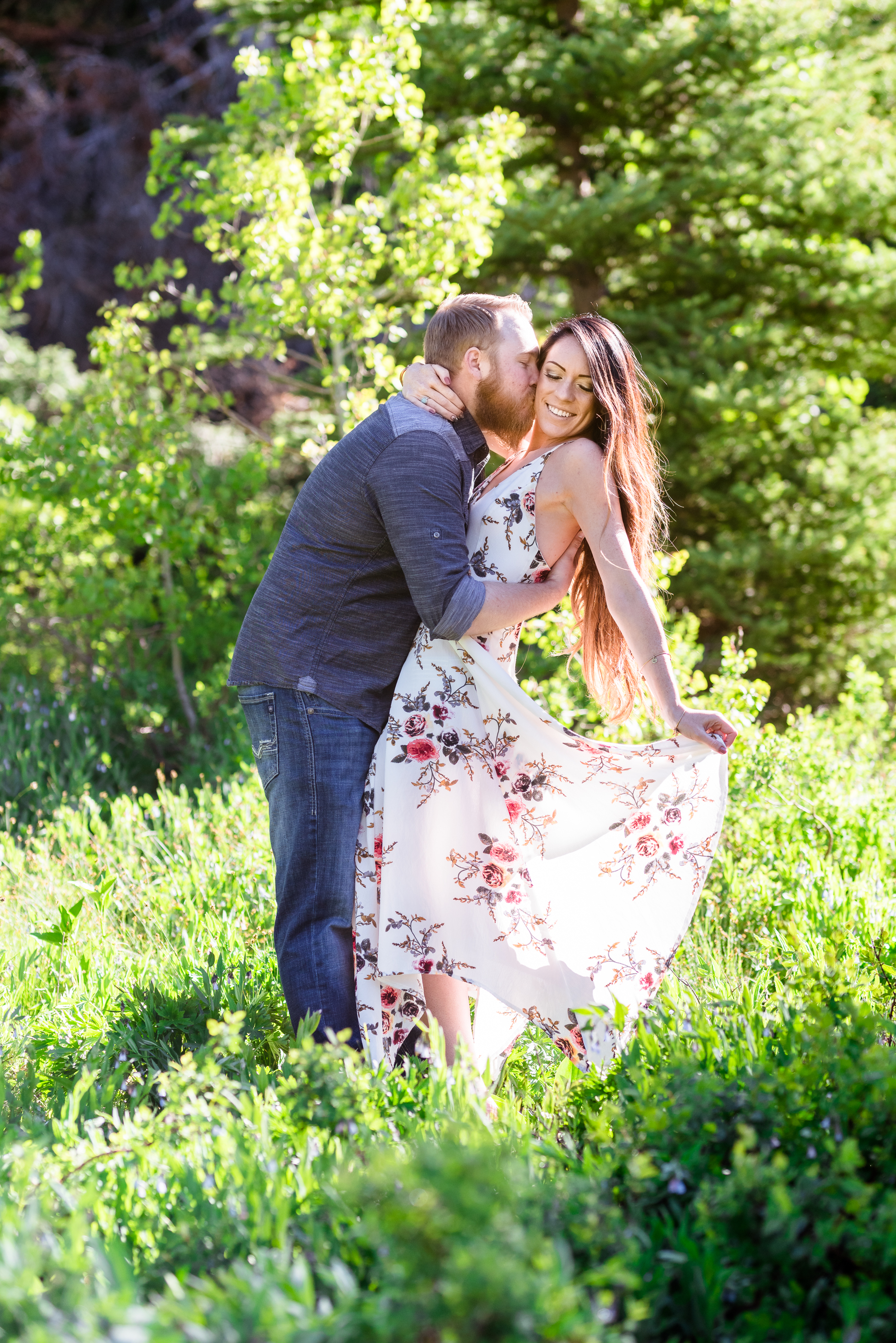 So romantic. Beautiful dip and kiss. Morning engagement session in the Salt Lake mountains. Engagement session at Jordan Pines Campground in Big Cottonwood Canyon.