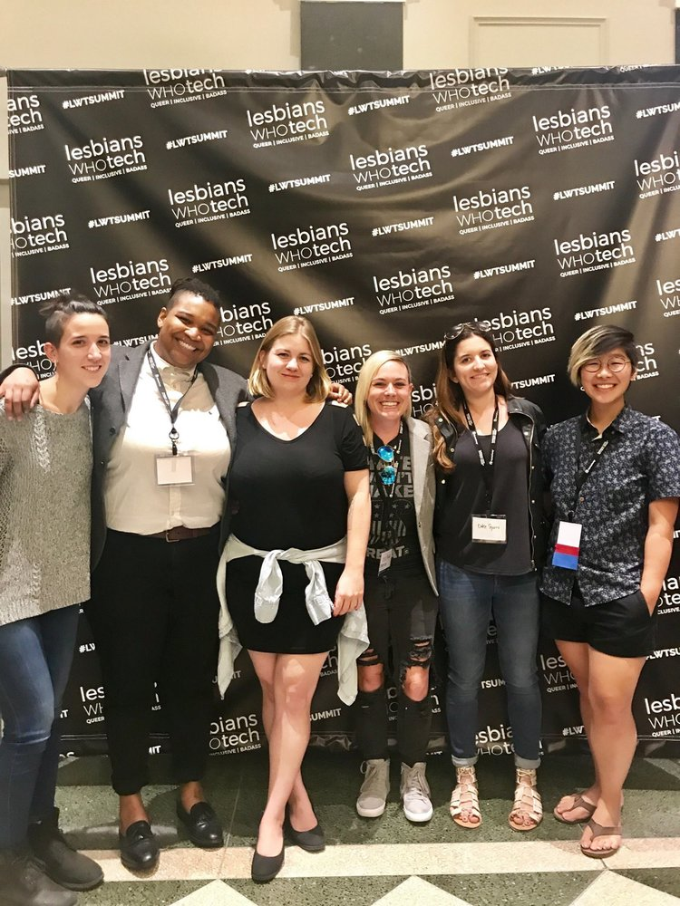 Katie Sgarro, Co-Founder & President, Tiff Lu, Director of Technology, and members of our volunteer team for the Social Good Hackathon (hosted by Uber) at the 2017 Lesbians Who Tech + Allies New York Summit.