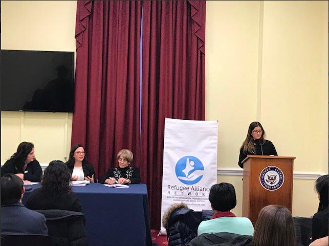 Katie Sgarro, AsylumConnect Co-Founder & President (far left), moderating the panel. Photo Credit: Refugee Alliance Network.