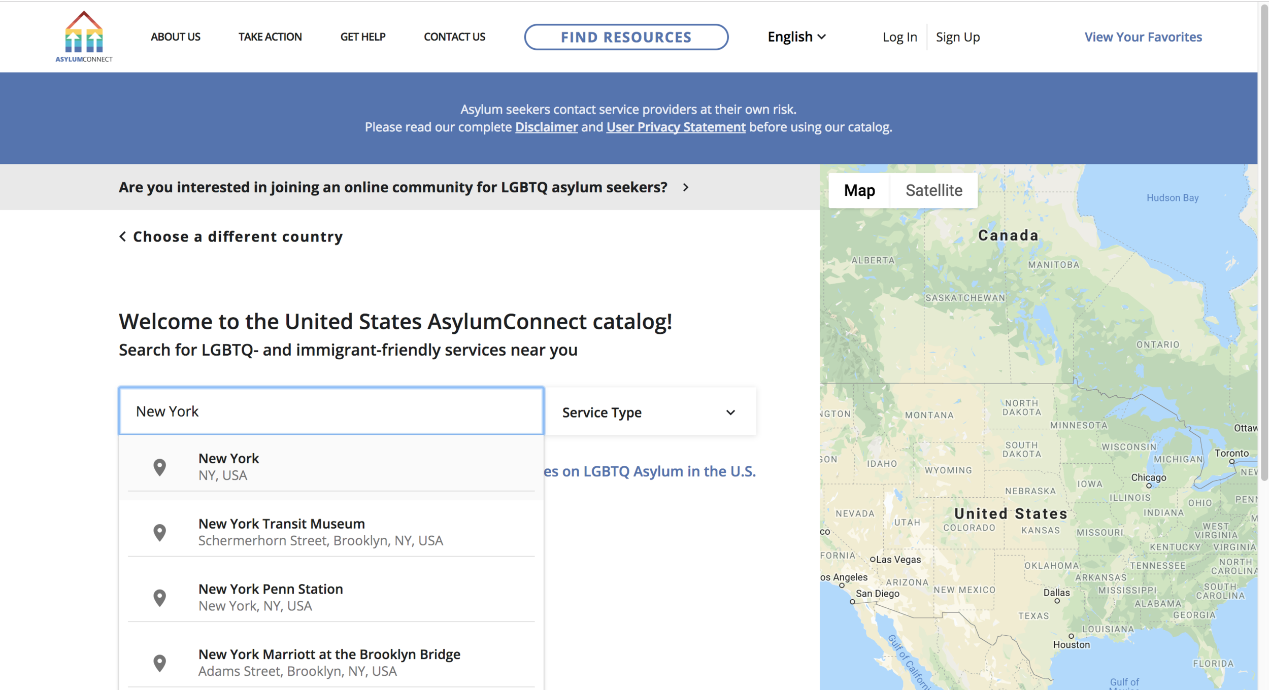 Welcome to the United States AsylumConnect catalog.