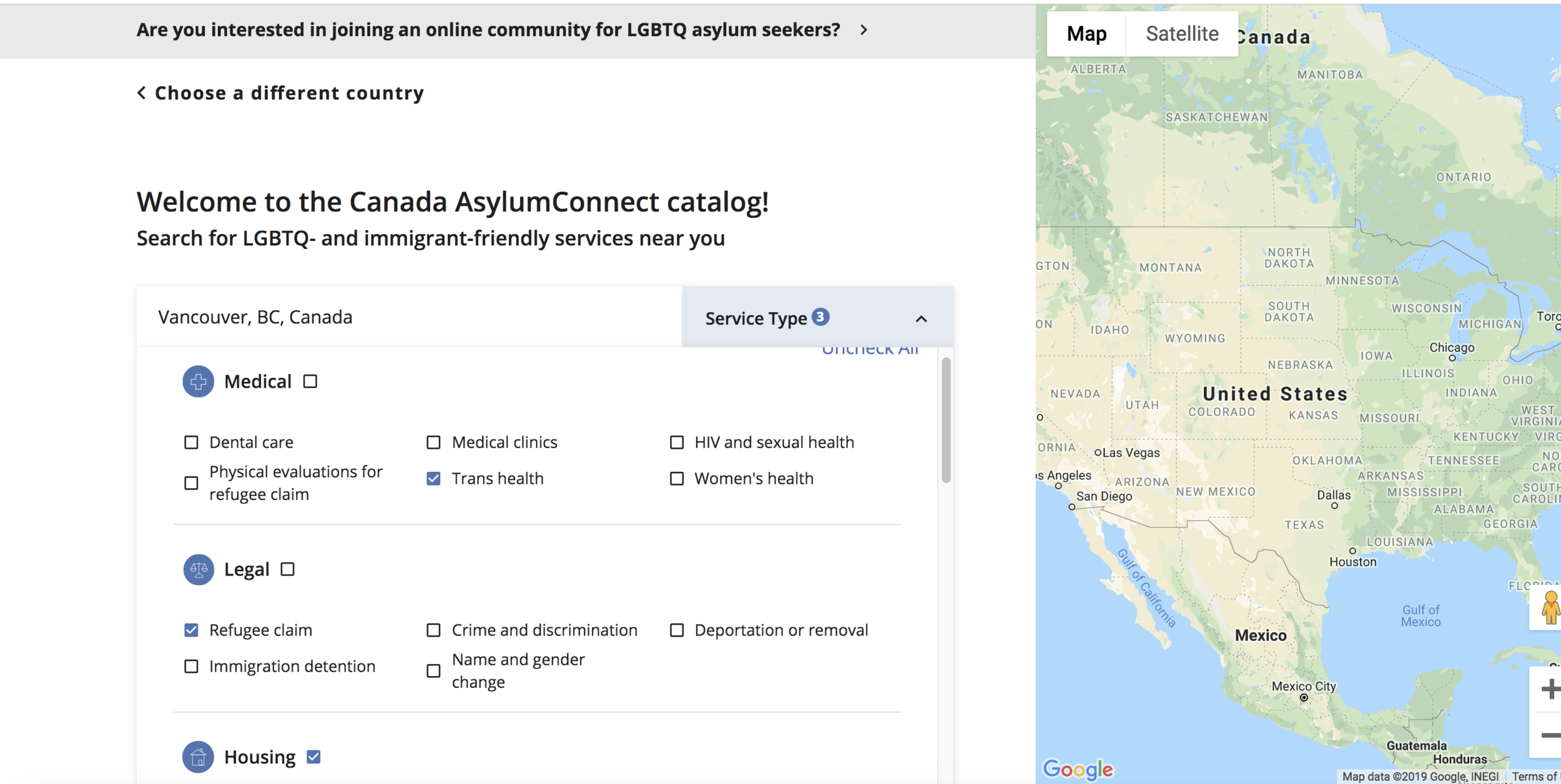 The Canada AsylumConnect catalog currently allows users to search for verified LGBTQ- and immigrant-friendly services across 13 categories and 26 subcategories.