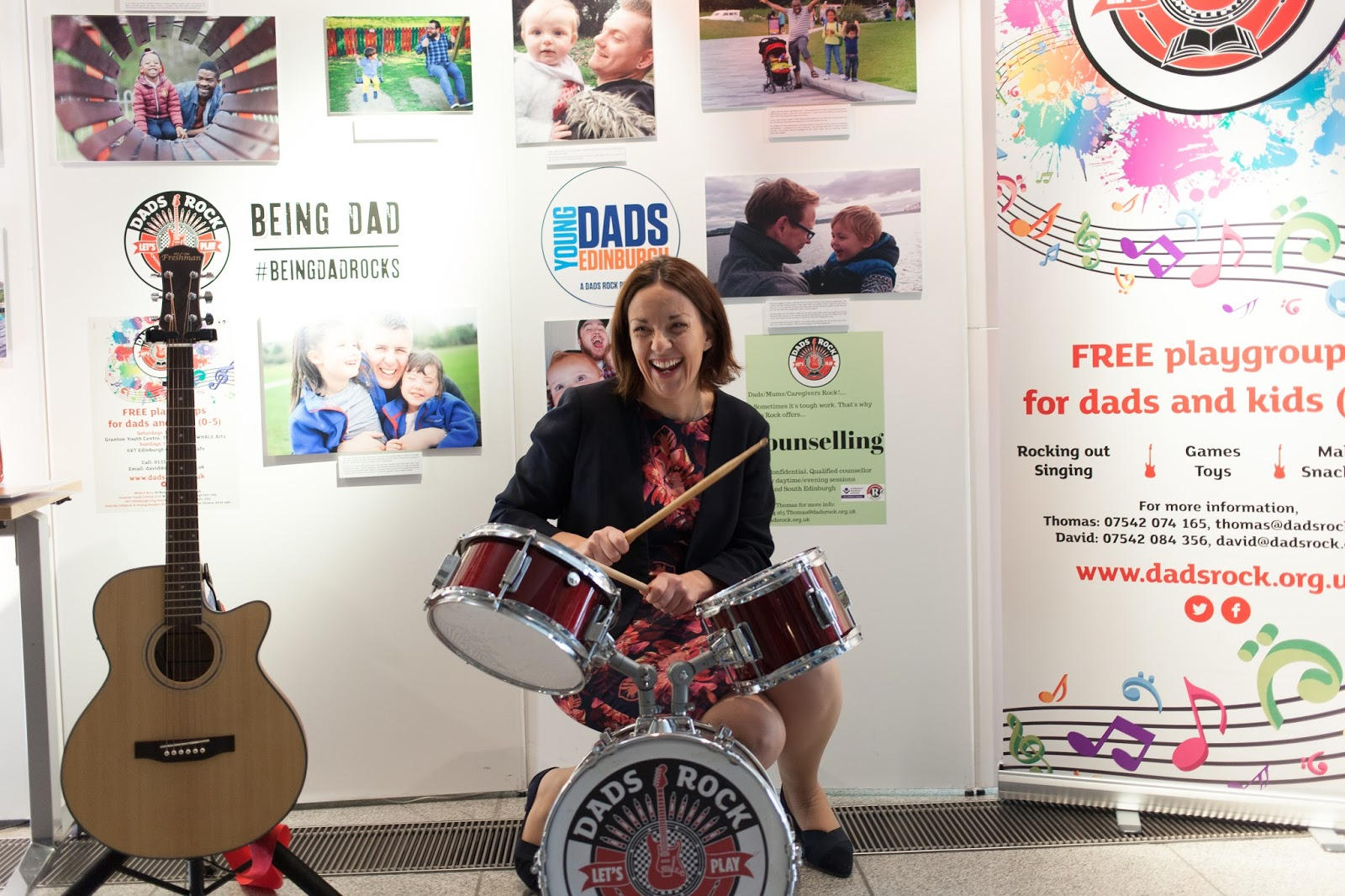 Kezia Dugdale  leader of Scottish Labour joined us for a wee go on the drums!