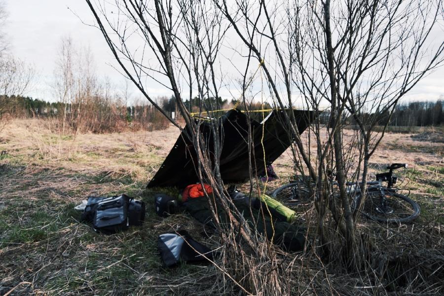 Sleeping in the bivvy bag on a random field in Finland