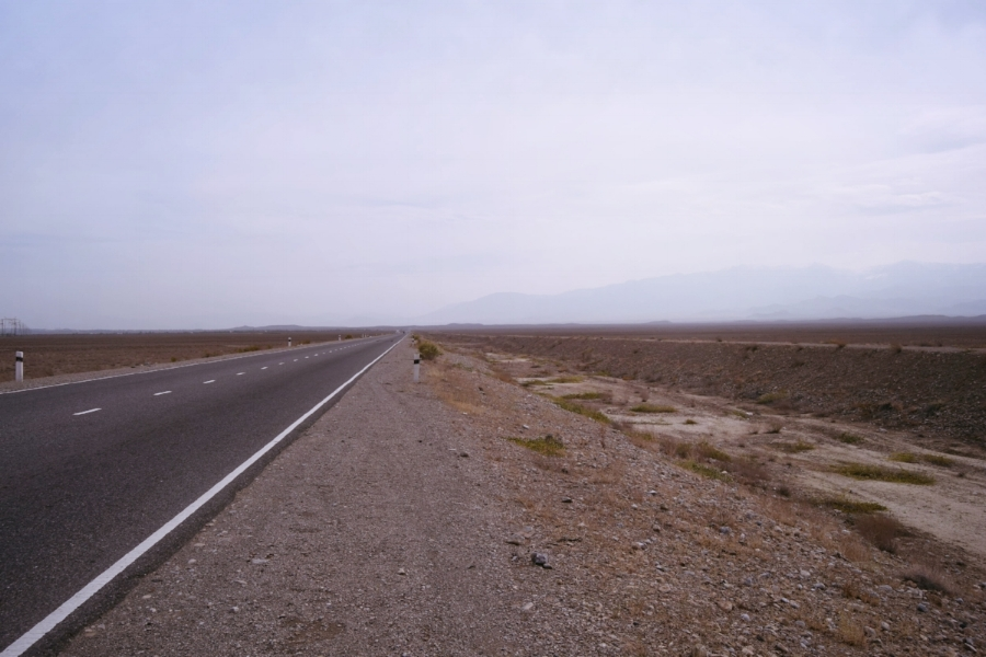 Alien landscape leading out of Khujand, towards Kyrgyzstan.