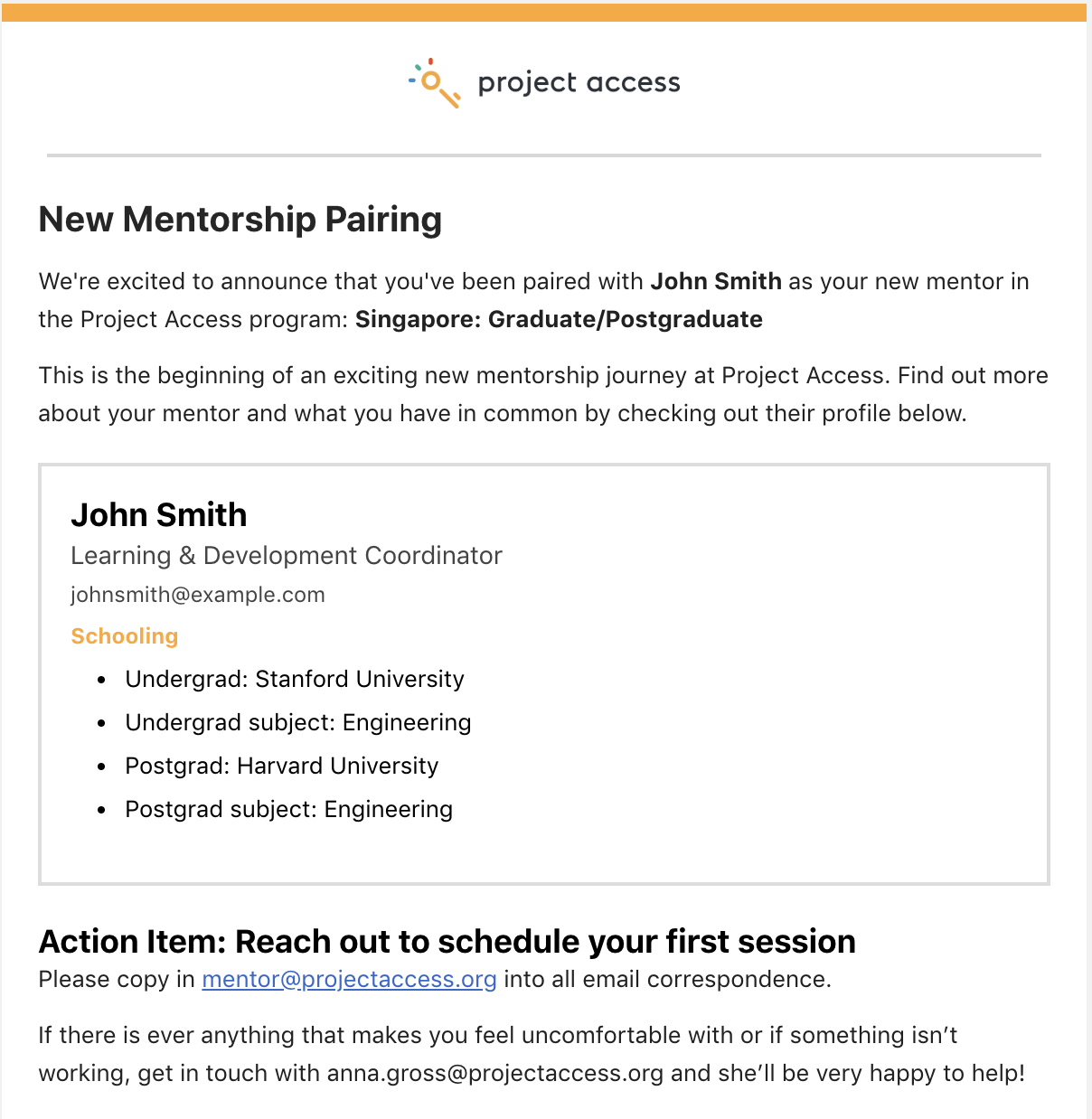 Mentorship pairing email preview(for mentees) -