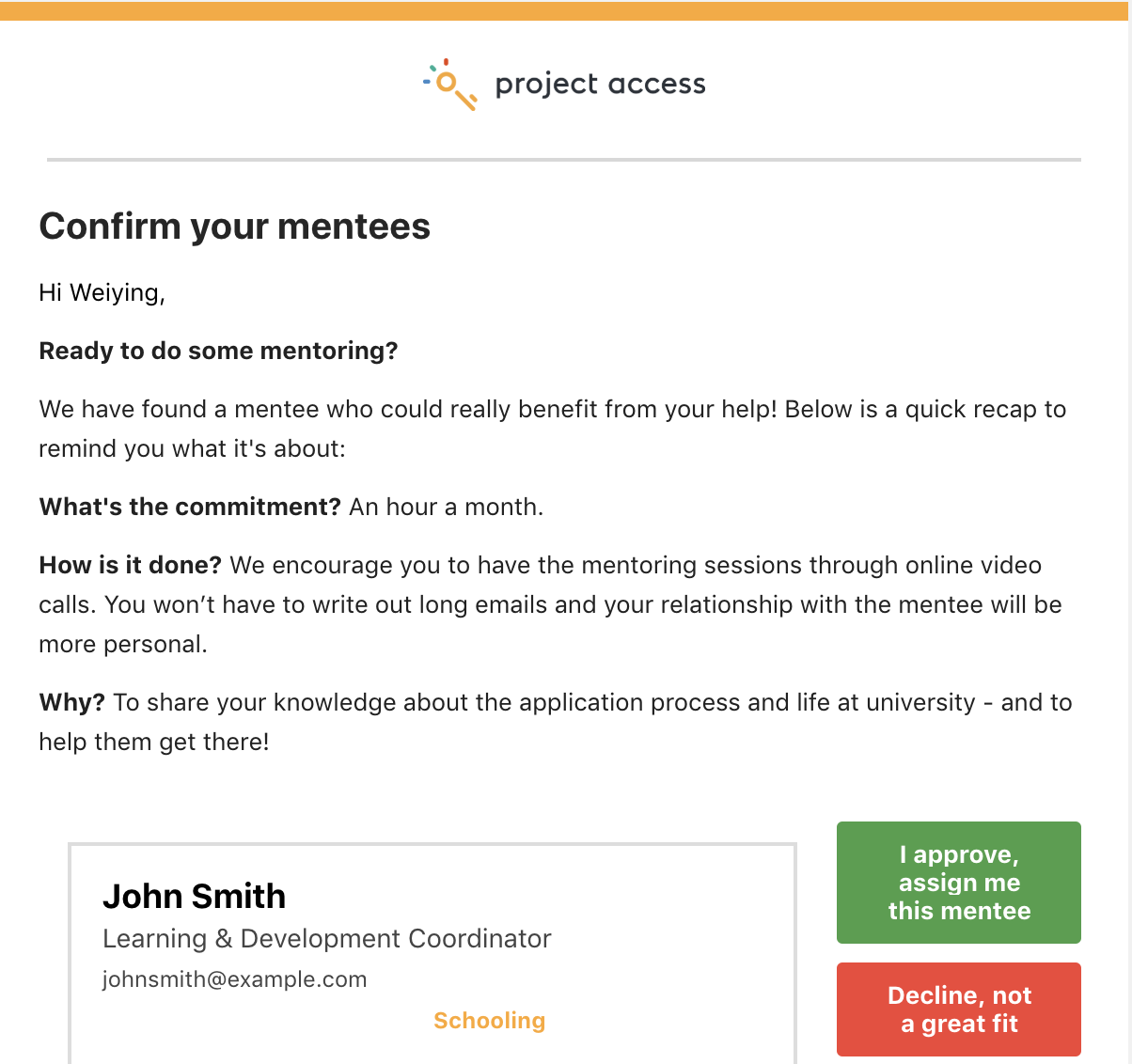 Mentee confirmation email preview (for mentors) -