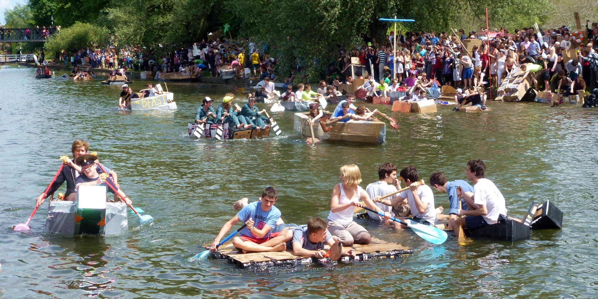 Cambridge cardboard boat race: participants in action