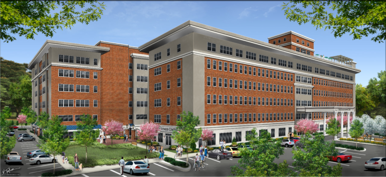 A rendering of the 120-unit apartment complex that is slated to come to the former Muhlenberg Hospital site, following approval by the Plainfield city council — Courtesy: Community Healthcare Associates/KTaylorRenderings.com