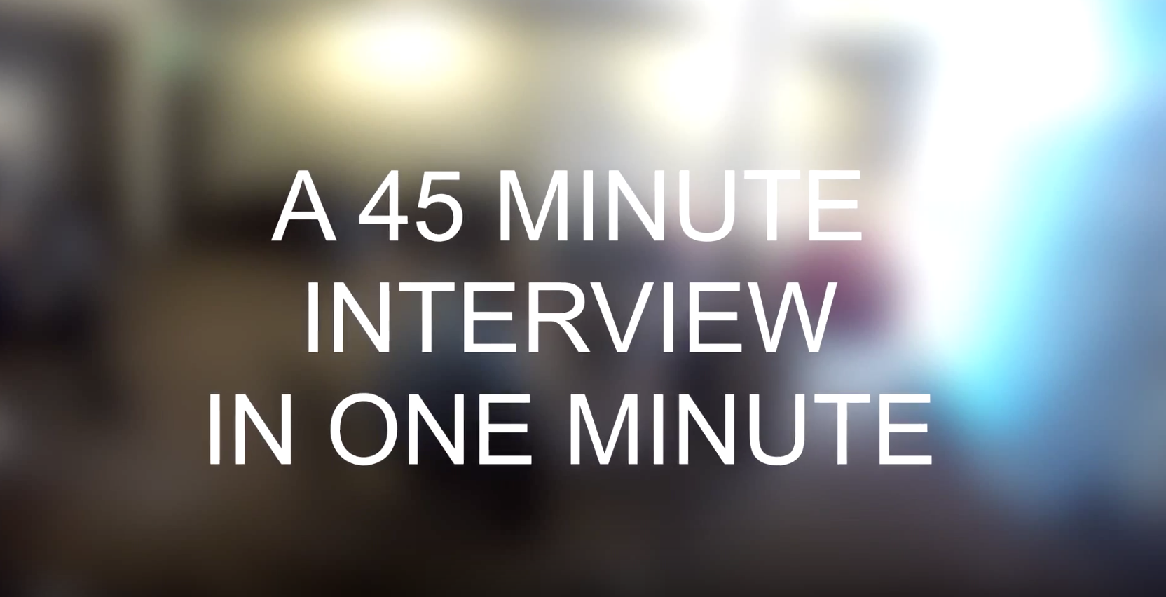 Here's what it takes to shoot an interview.