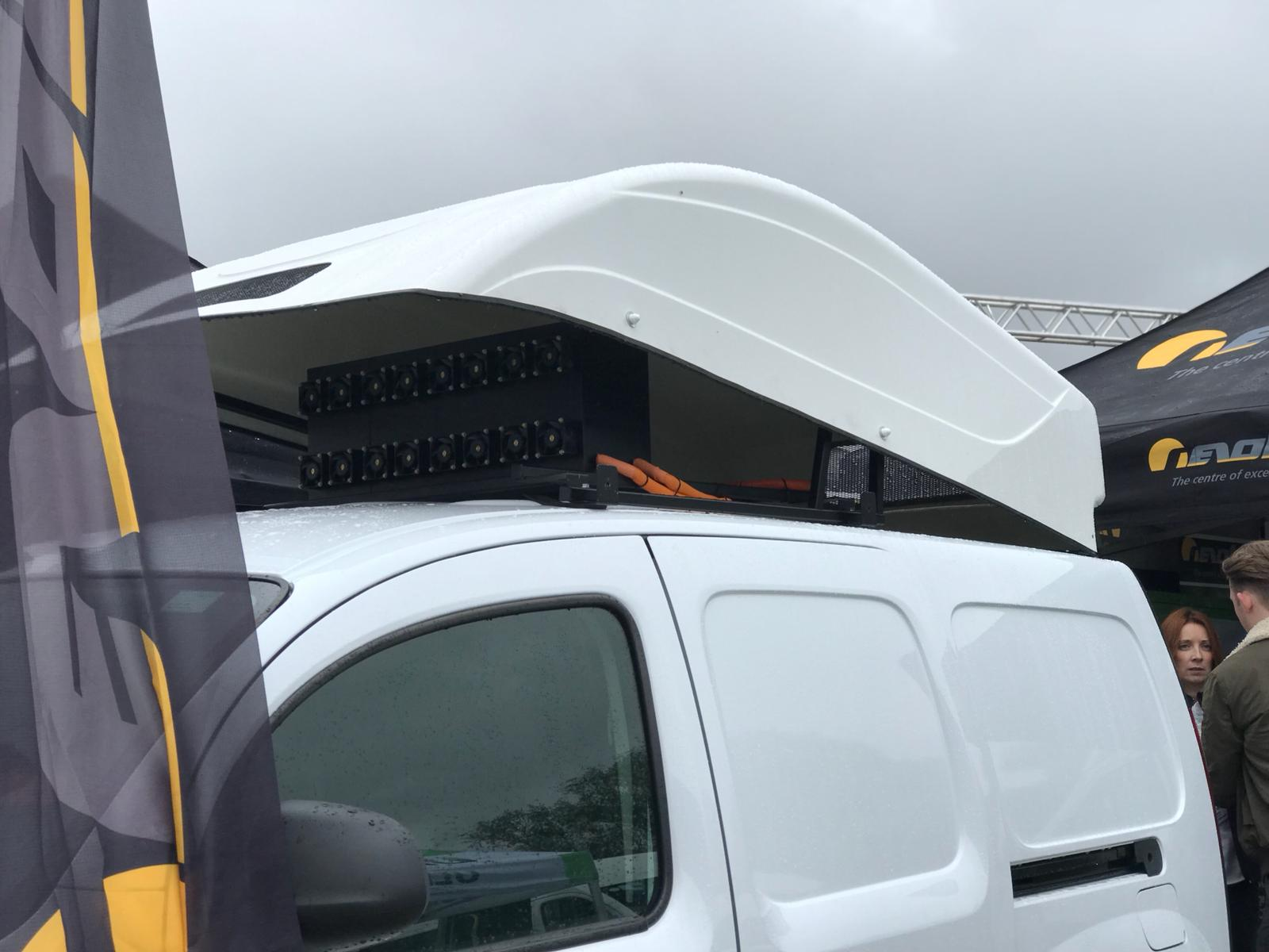 The Renault Kangoo with a PCBFC roof mounted range extender