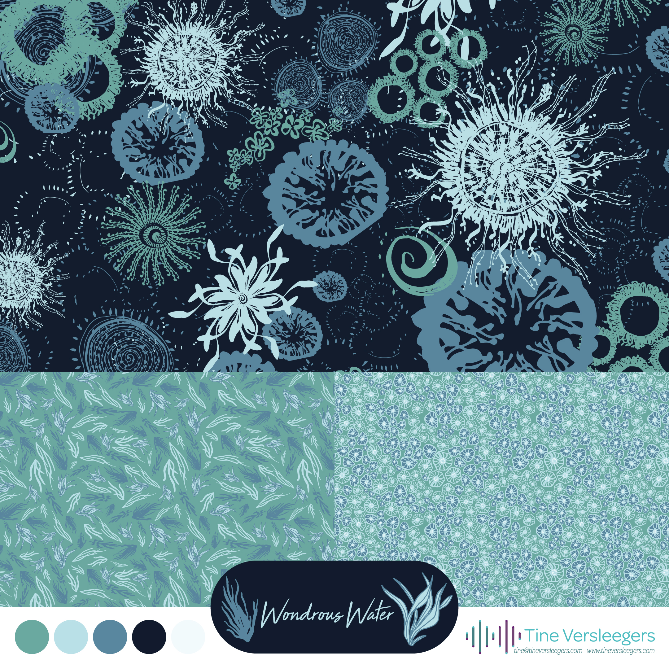The collection Wondrous Water is inspired by the sea and features wonderful patterns in blue, teal and mint.
