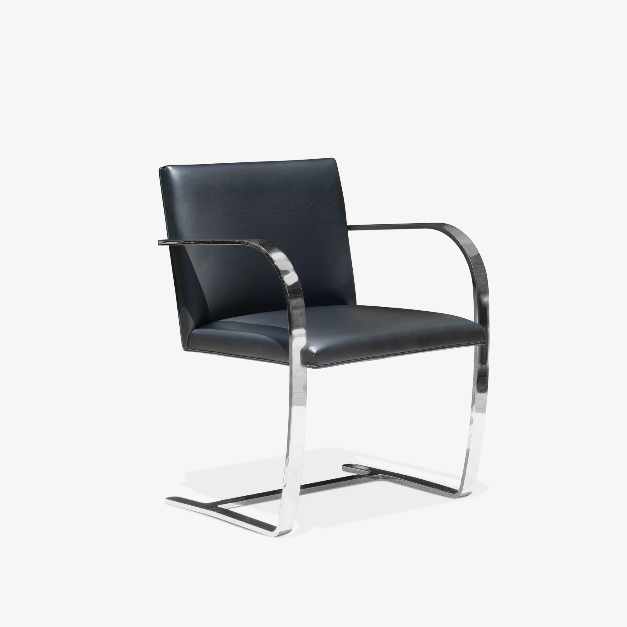 Brno Flat-Bar Chairs in Black Leather & Chrome by Ludwig Mies van