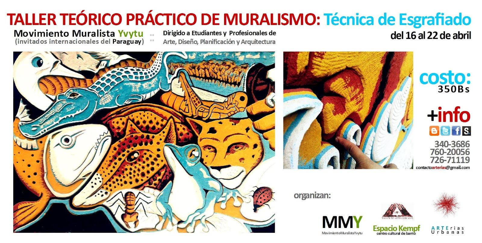 Taller Esgrafiado - 1º taller internacional con los amigxs de Paraguay el colectivo de arte público Yvytu