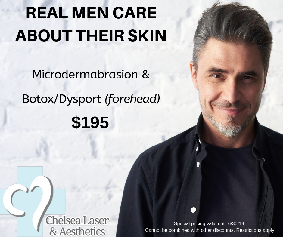 Dad wants to be pampered too! - Start with a Microdermabrasion to gently exfoliate the outer layer of skin with crystals and a gentle suction that stimulates collagen growth underneath. Then Botox or Dysport will be used to correct moderate to severe forehead lines.