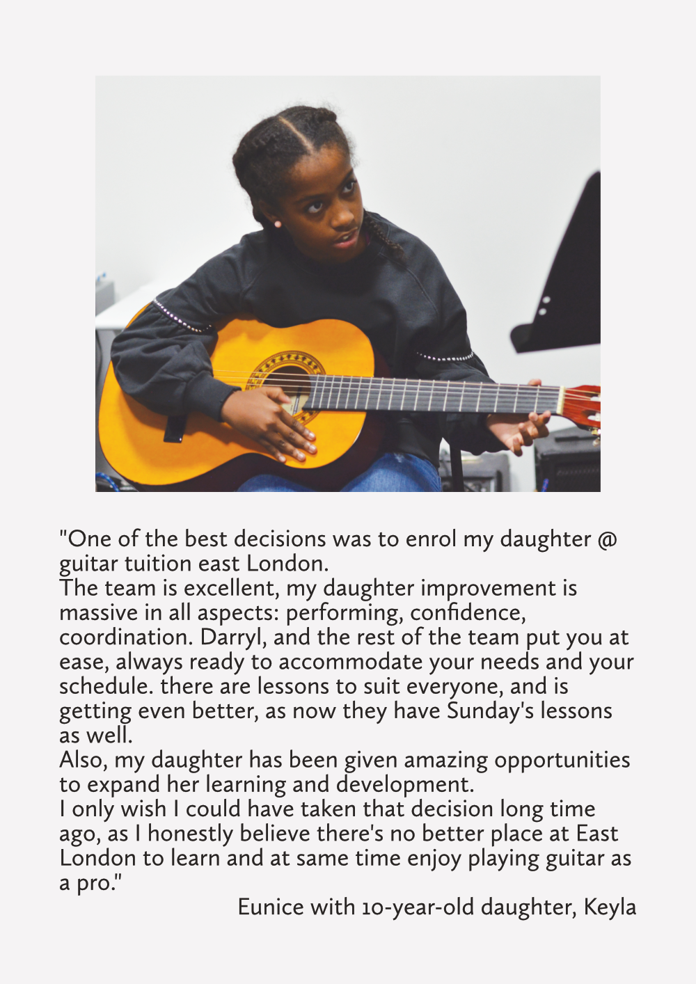 student guitar tuition east london kids guitar lessons testimonial review prices