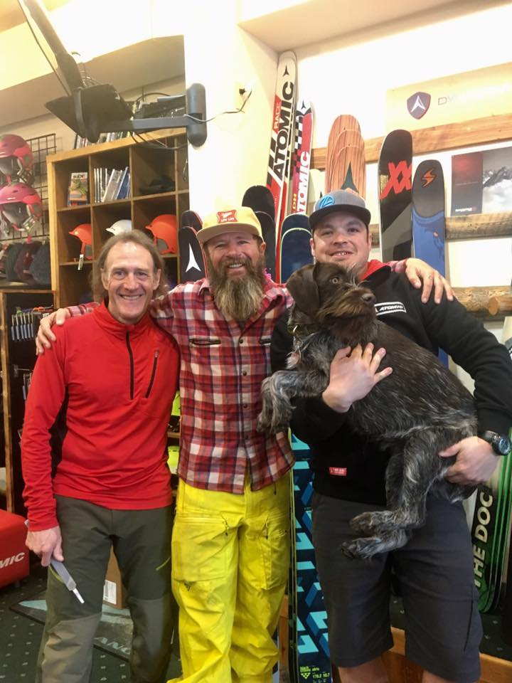 About us... - Longtime Bridger Bowl and Big Sky skier, Kevin Wiesner (left), always dreamed of owning a ski shop in Bozeman, Montana. He also dreamed of making it Bozeman's best ski shop for top gear, quality service and sales, and the best boot fitting experience in the state. Since 1985, Kevin's dream has been a reality. Stu Lange (right), Ph.D.'s General Manager, began his journey at the ski shop in 2001. Each year he and Kevin research the latest gear and brands, test skis (tough job!) and handpick their seasonal staff in order to provide YOU with extraordinary product quality and service. Ph.D. Skis takes great pride in the service the shop provides. Professional boot fitting, binding installation, and ski technicians are on hand to assure you have the best gear to meet your budget and needs. The repair shop can address any repairs your gear may need; if it can be repaired we can do it. Our Montana Crystal Glide stone grinder provides the best ski base finishing in town! Need a race tune? We have your back! Are you in the market for some new equipment? Our staff is immersed in the ski community and is ready to listen to your needs to help you make the right gear choices for you. Bozeman's best ski shop, owned, operated and supported by community skiers!We're looking forward to meeting you, Kevin, Stu & Skadi (the dog)