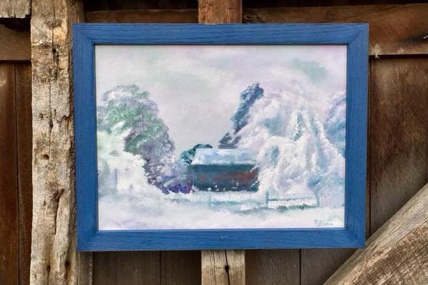 Winter Church Scene Painting