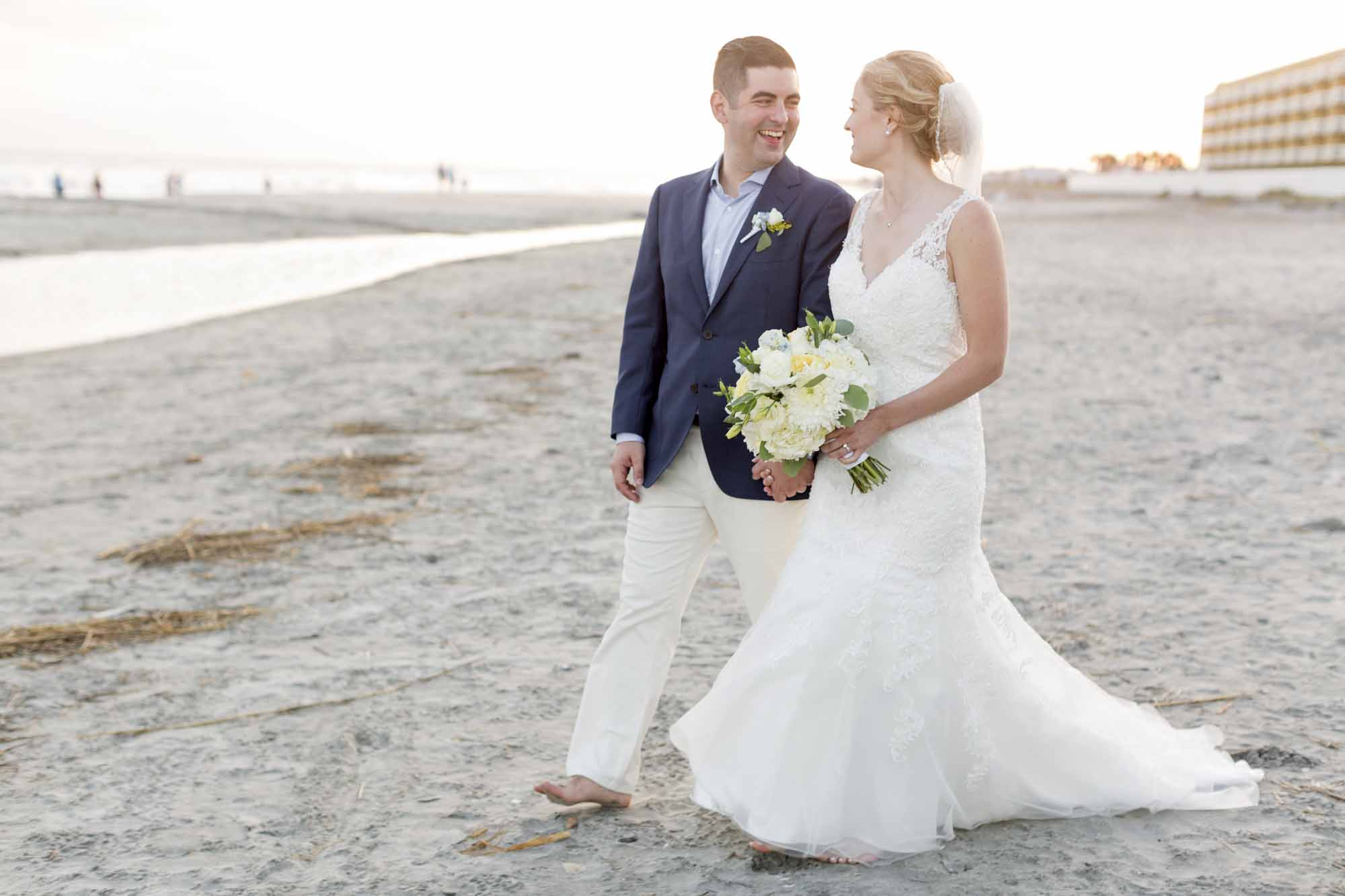 Bride and Groom at Tides Hotel on Folly Beach.