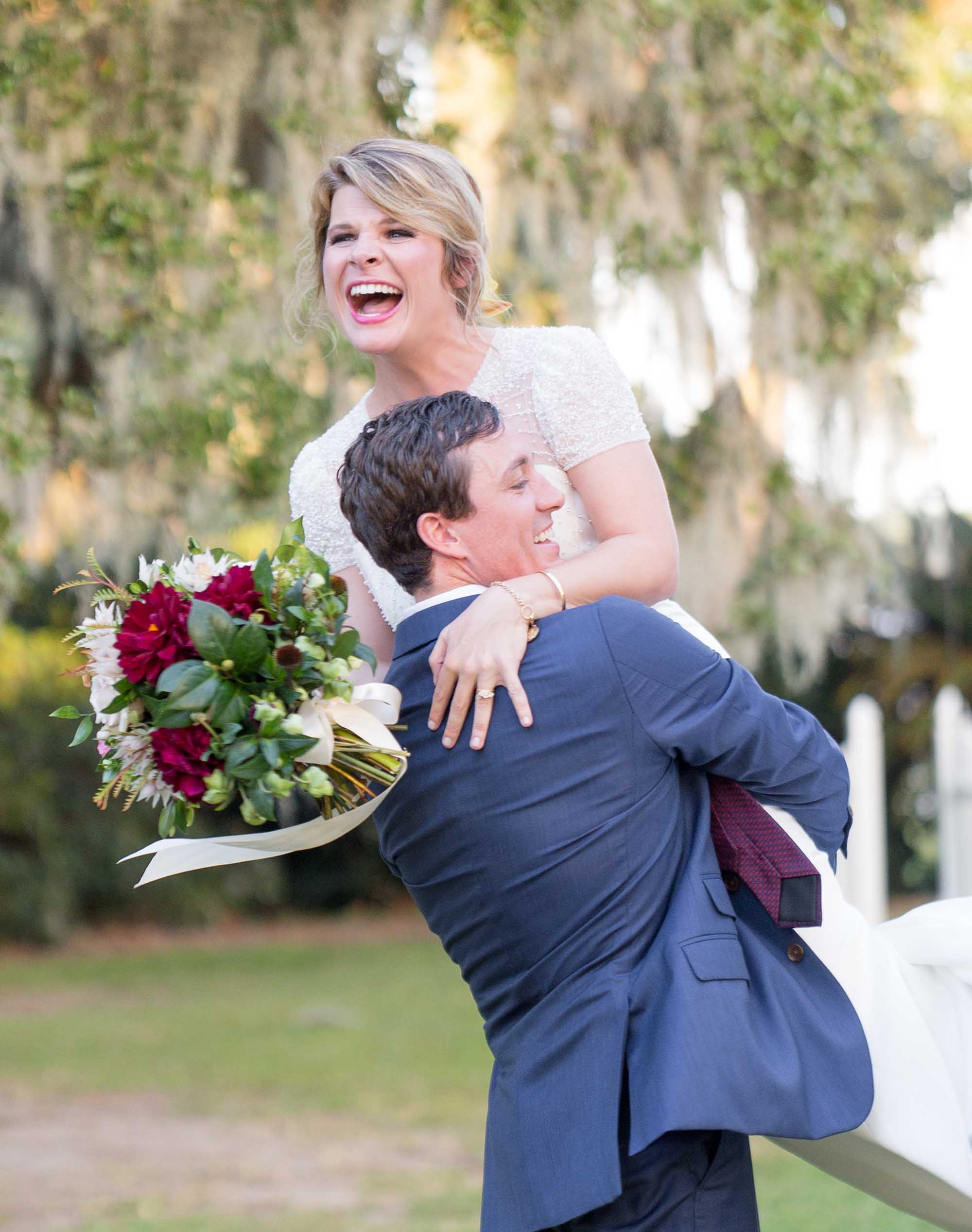 Edisto Plantation wedding couple celebrating.