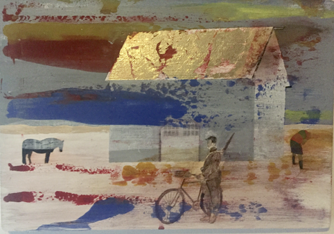 Jan van der Veer: no. 3 uit de serie  being in the world, means being in limbo , 33 x 34 cm, acryl, bladgoud op paneel.  arsprodomo.nl