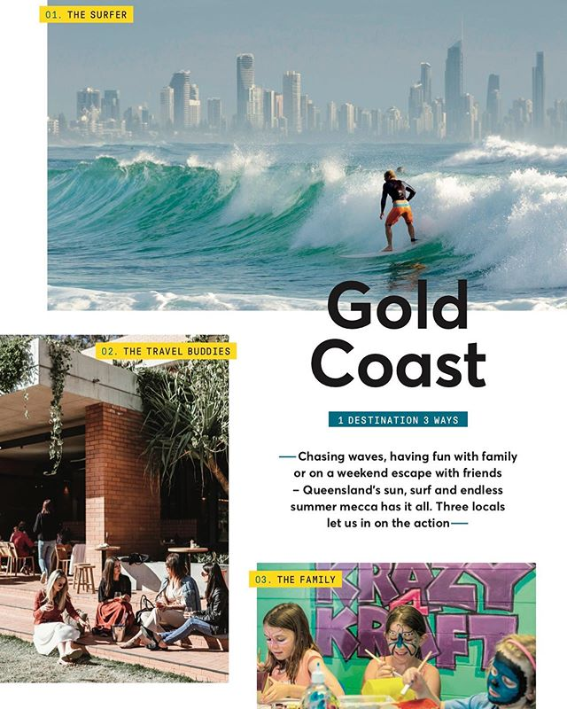 If you're flying @jetstaraustralia this month, flip to pg. 65 of your magazine to learn how to explore the Gold Coast 3 Ways - for the surfer, a girls trip, and for families. Big thanks to locals @seanscottphotography, @plahm12 and @alittleatlarge for their expert tips 🙏🏼✈️✨ (link to online mag in my bio)