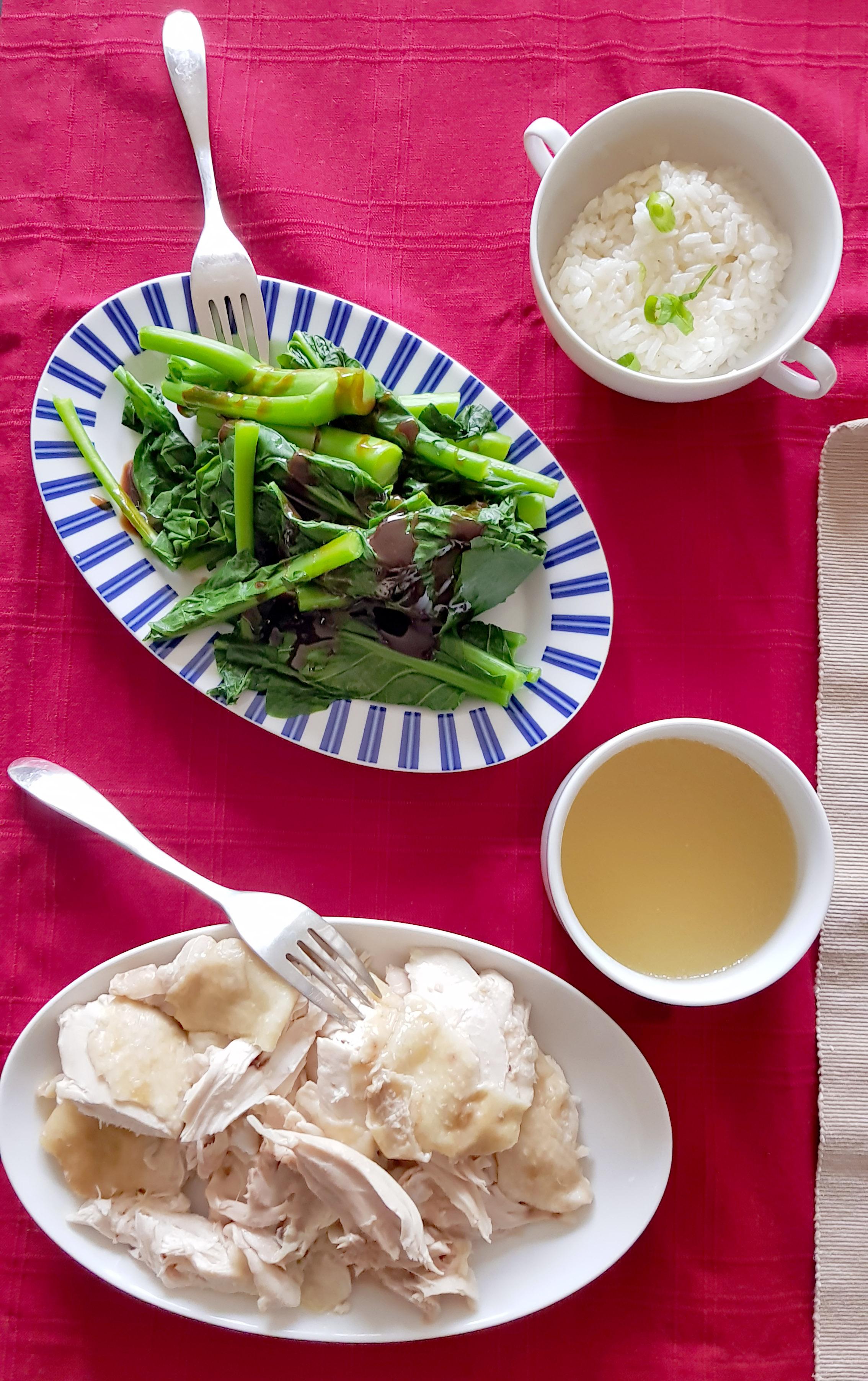 Hainan Chicken and Rice Gai lan Chinese Broccoli recipe Cantonese food
