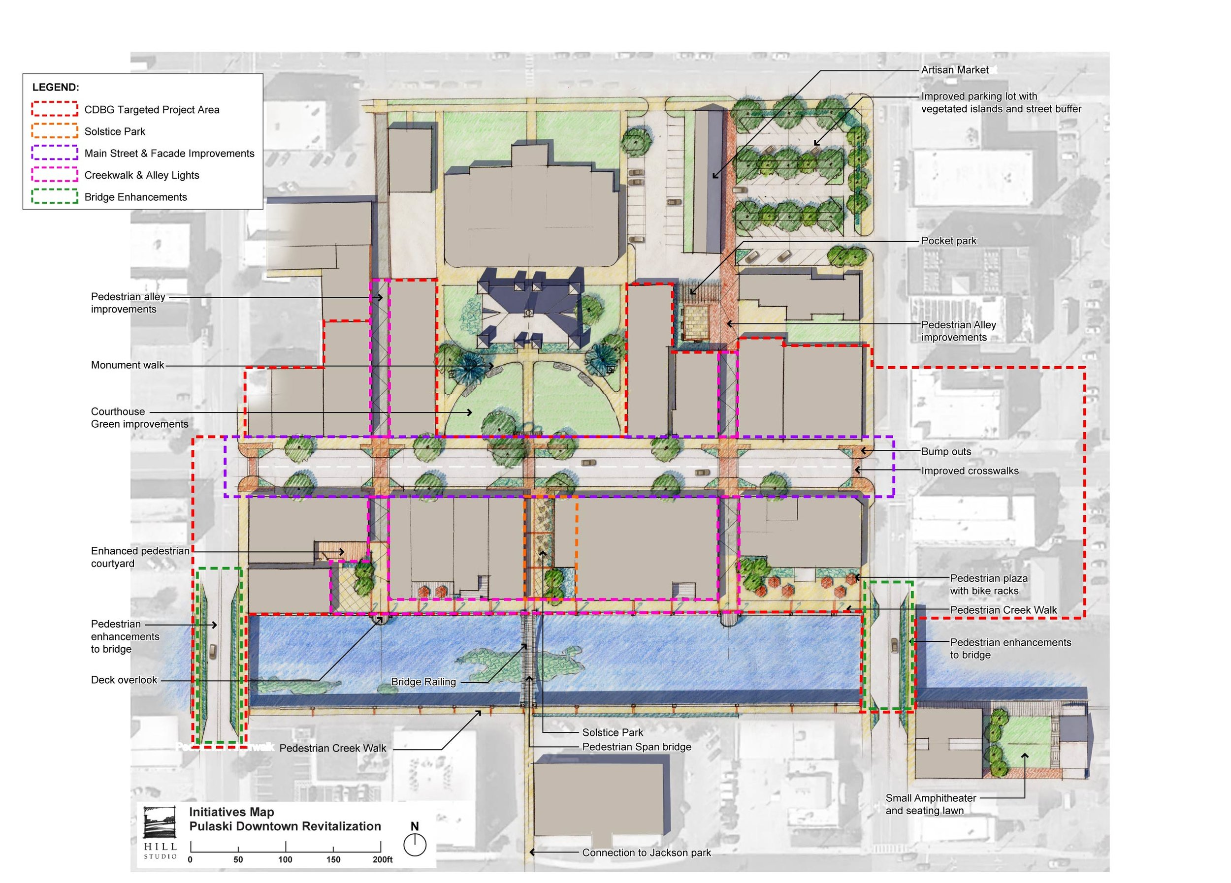 Pulaski Downtown Plan - Illustrative Map by Hill Studio