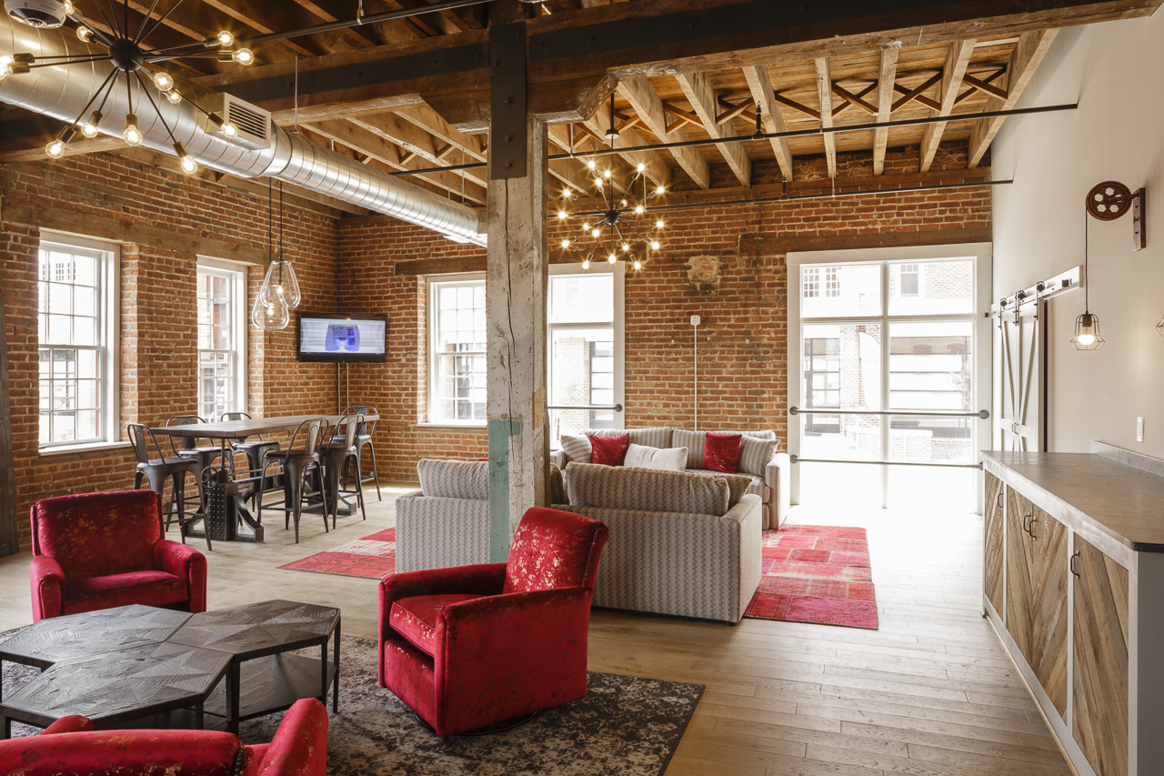 High Bridge Lofts Gathering Room - Historic Tax Credit application by Hill Studio