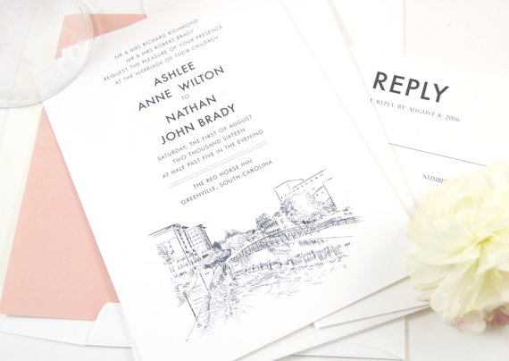 Greenville Skyline Invitation by Magic Wand Weddings | Photo by Magic Wand Weddings