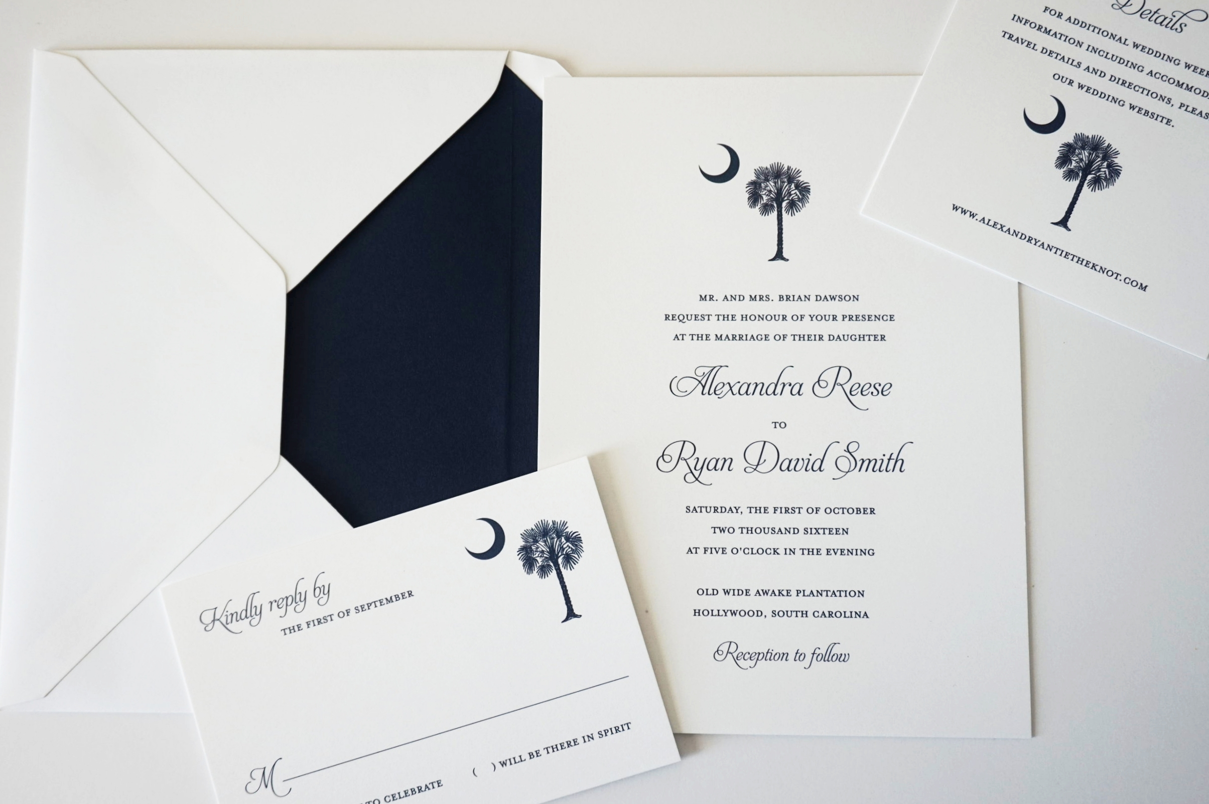 Alexa Palmetto Tree Invitation | South Carolina Wedding Invitations