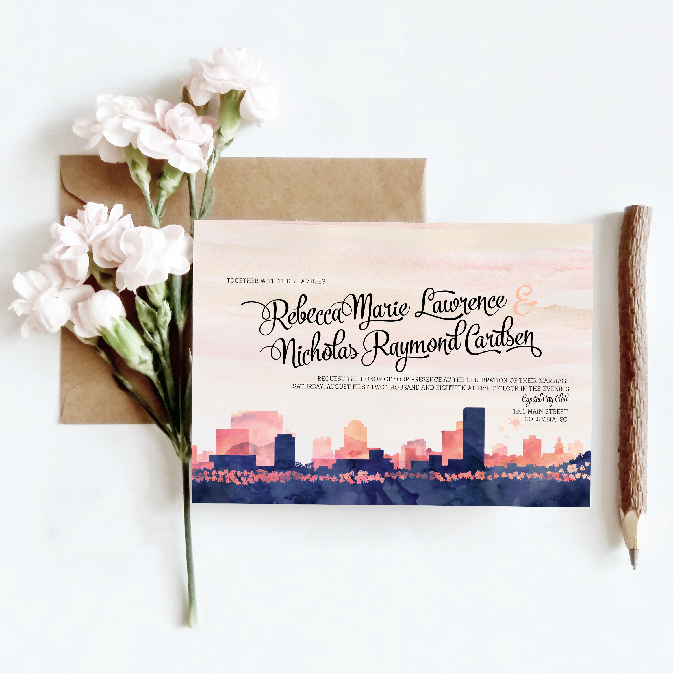 Columbia Watercolor Skyline Invitation by Weditorial Design | Palmetto State Weddings