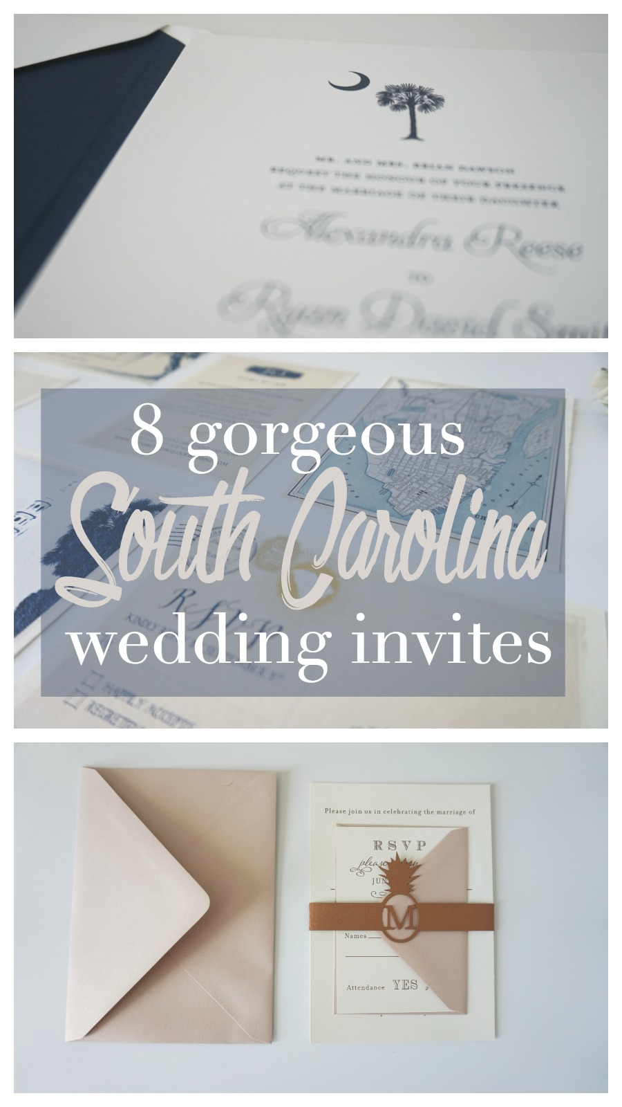 8 Gorgeous South Carolina Wedding Invitations | Palmetto State Weddings
