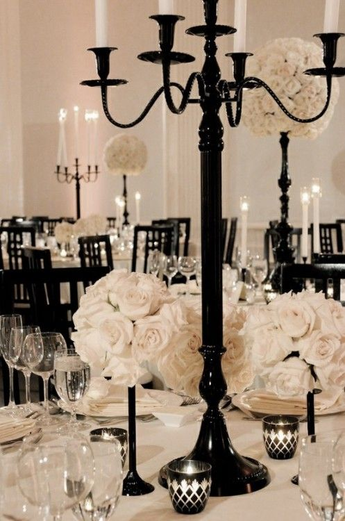 Black and white tablescape via  Social Bliss
