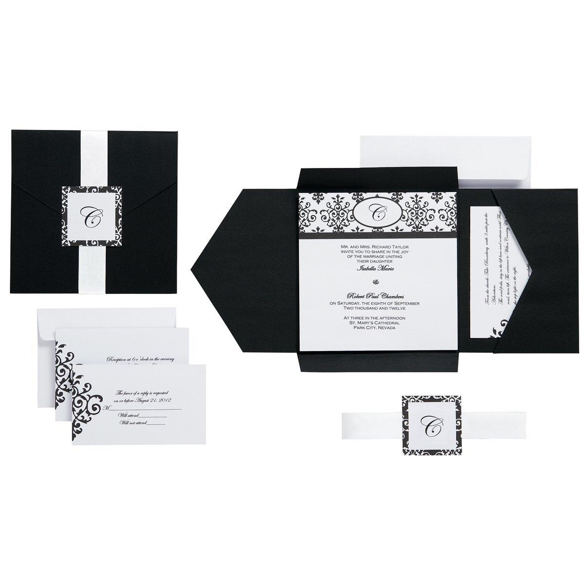 Damask invitations via  Amazon