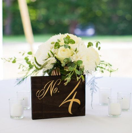 Table card and florals via  Fifty Flowers