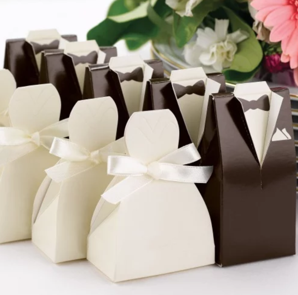 Tuxedo and Gown Favor Boxes via  Beau-coup