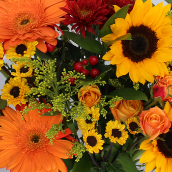 Sunflower Bridal Centerpieces via Fifty Flowers