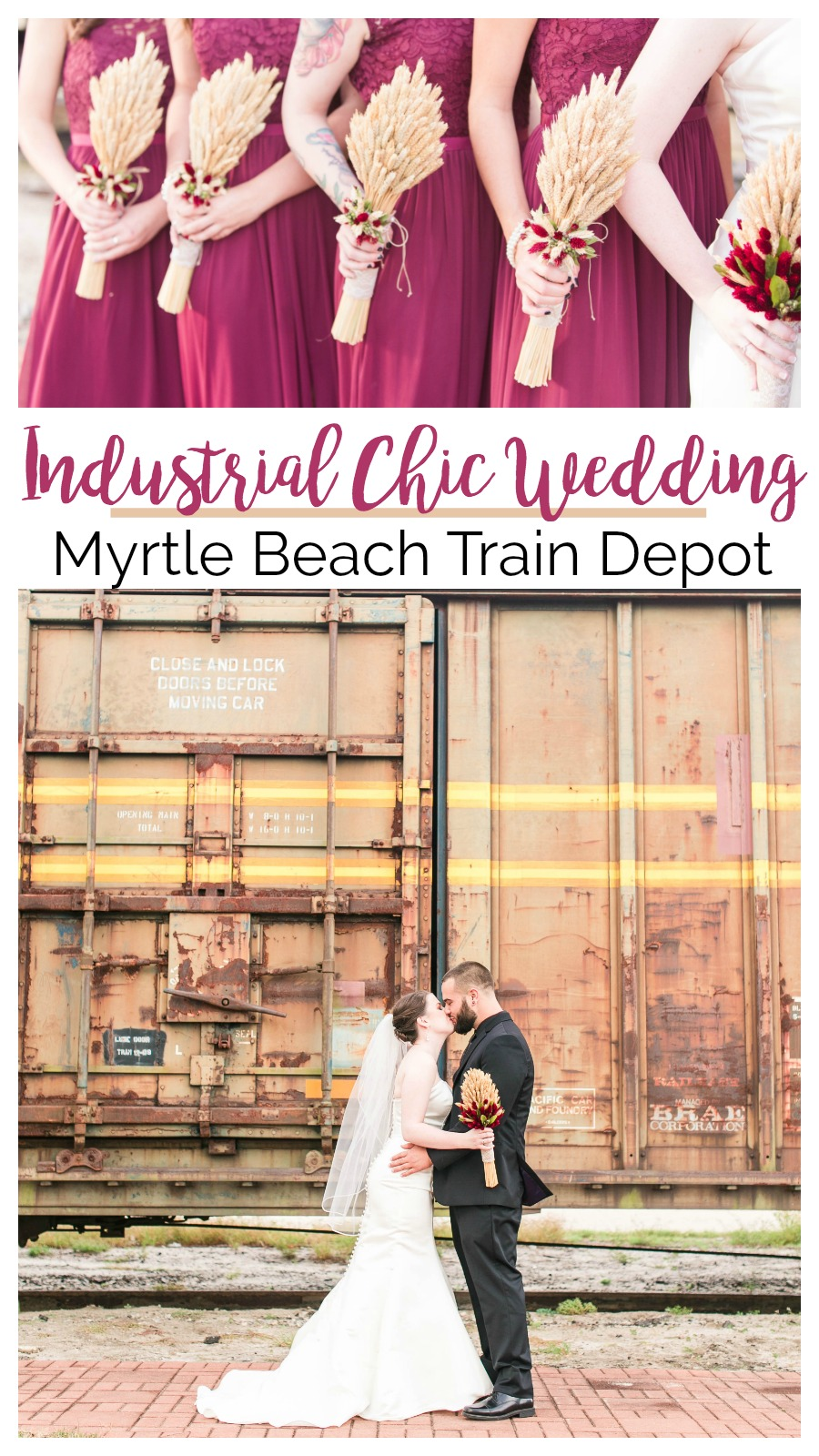 Darla + Phillip: Industrial Chic Wedding at the Myrtle Beach Train Depot | Palmetto State Weddings | Sweet E Photography | Burgundy wedding inspiration | historic wedding venue