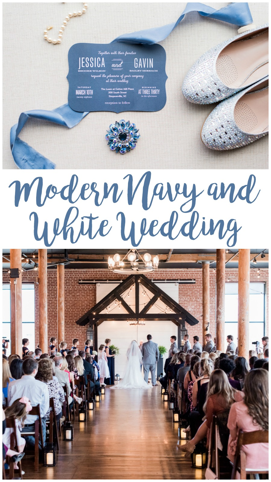 Jessica and Gavin: Modern Urban Wedding at the Loom at Cotton Mill Place   Palmetto State Weddings   Greenville wedding venue   navy and white wedding inspiration