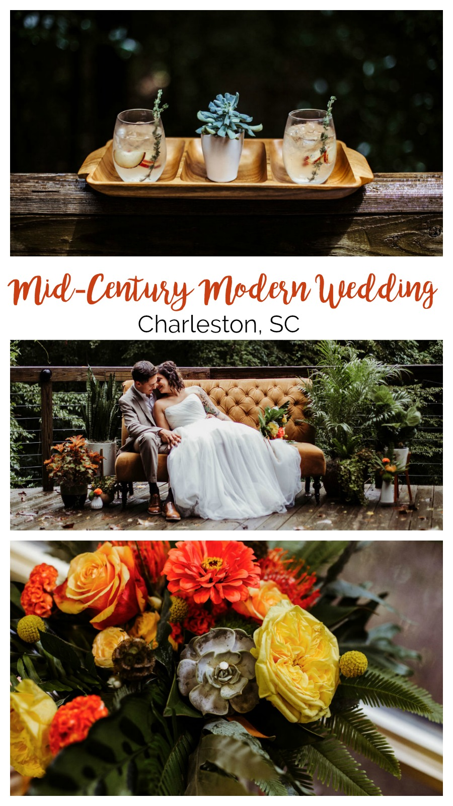 Geometric and Citrus Mid-Century Modern Wedding Shoot at Middleton Place | Palmetto State Weddings | Britt and Bean Photography | southern wedding | modern vintage wedding | citrus wedding | Charleston SC weddings