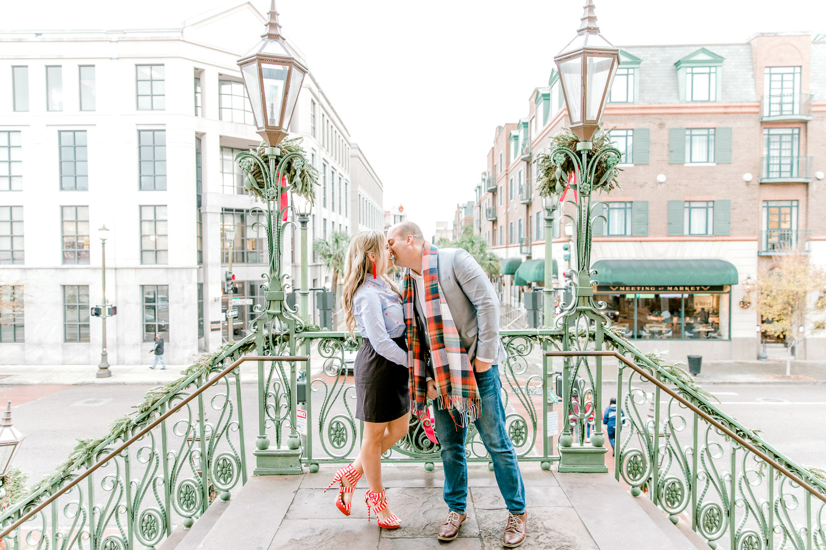 Megan + John: A Festive Christmas Engagement in Downtown Charleston | Palmetto State Weddings