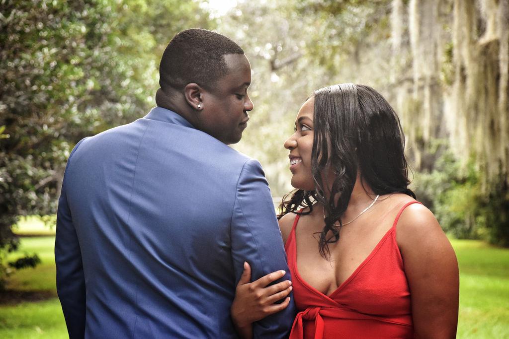 Afranika + Johnny: Garden Engagement at Charles Towne Landing | Palmetto State Weddings