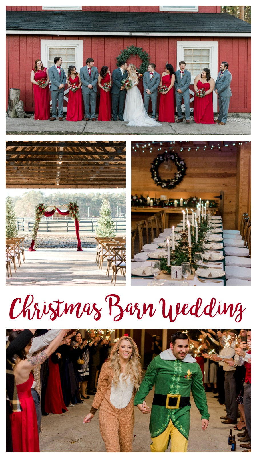 Kiley and Matthew: Elegant Christmas Wedding at Medicine Wind Farms, Summerville, South Carolina | Palmetto State Weddings | Kelsey Halm Photography | Christmas barn wedding | cute wedding outfits | red and gold wedding