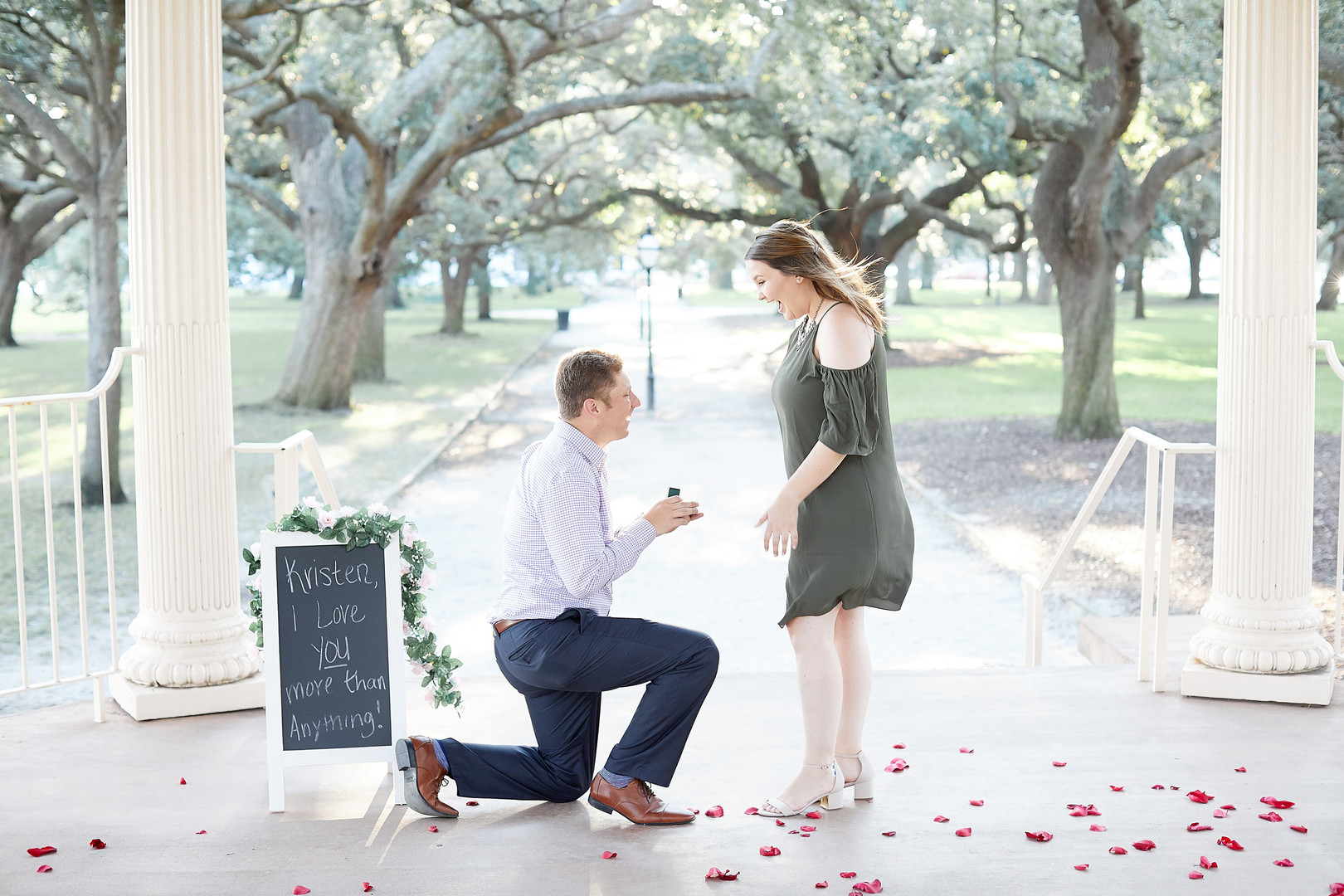 Kristin + Ryan: Surprise Engagement at White Point Gardens, Charleston | Palmetto State Weddings