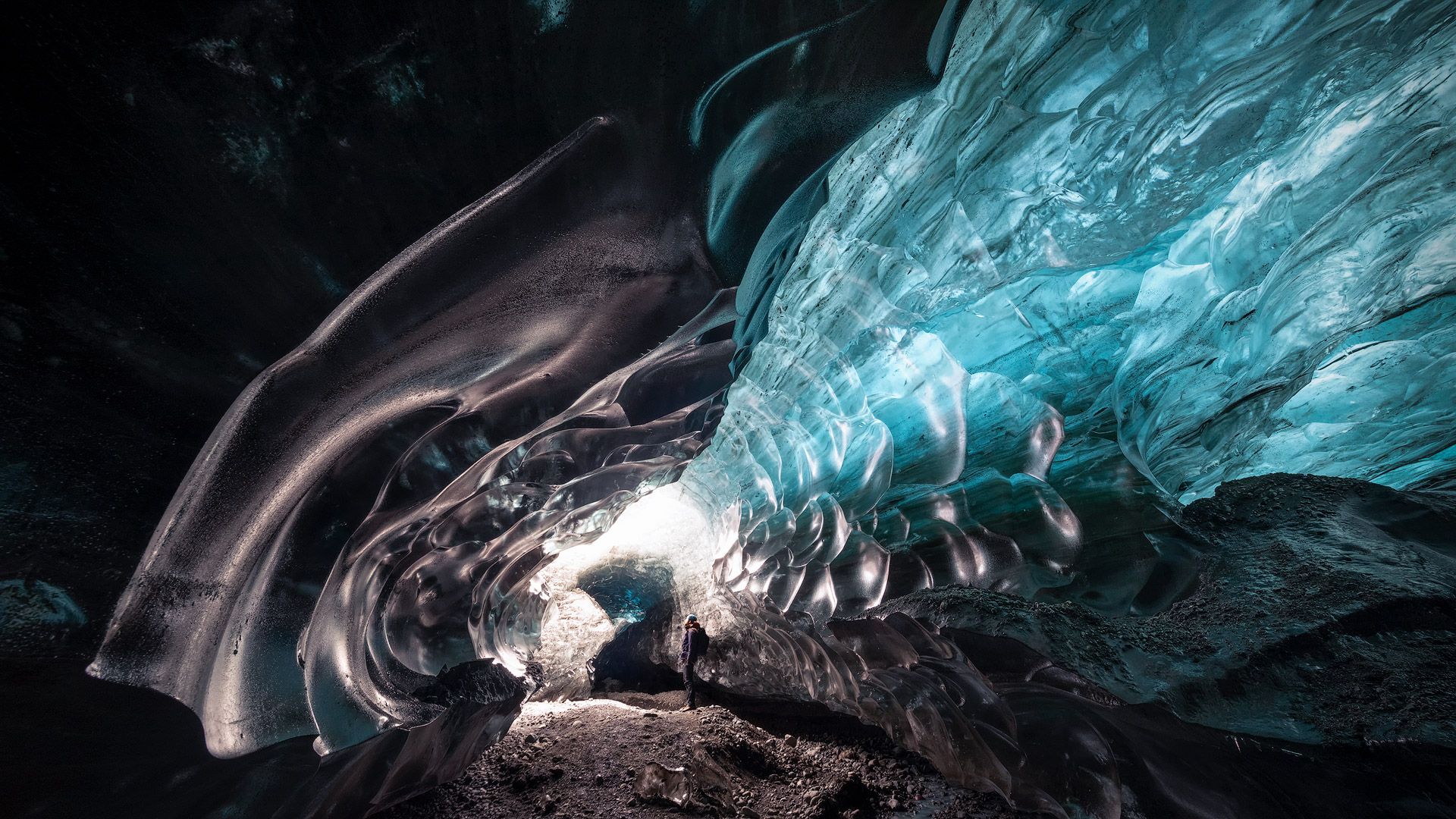 Me inside an ice cave, Iceland